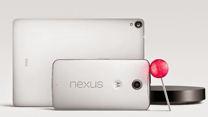 Lollipop an Bord: das Nexus 9, das Nexus 6 und der Nexus Player.