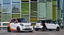 Der Zweisitzer Smart Fortwo, den es ab 10.895 Eurogeben wird, setzt weiterhin auf die knackige Kürze von knapp 2,70 Metern, ...