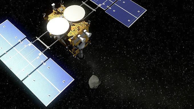 """So stellen sich die Forscher die Annäherung an den Asteroiden vor: """"Mascot"""" in einem Computerbild."""