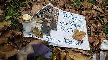 Auch am Tatort in Offenbach, wo Tugce verprügelt wurde, wird an die Studentin erinnert.