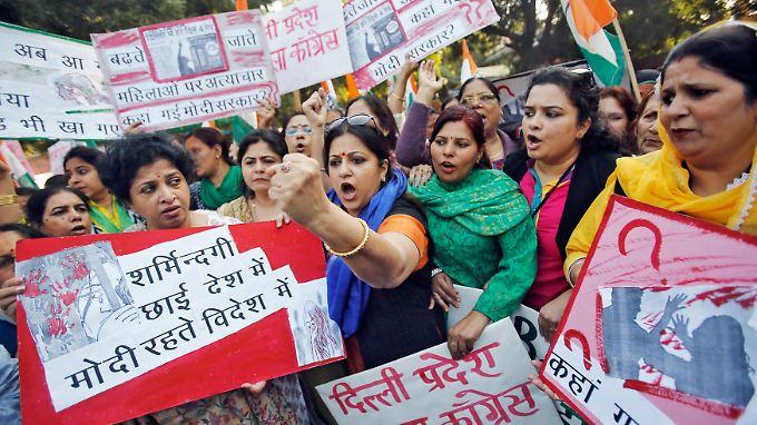 Auf den Straßen Neu-Delhis gab es Proteste gegen die Vergewaltigung der Frau.