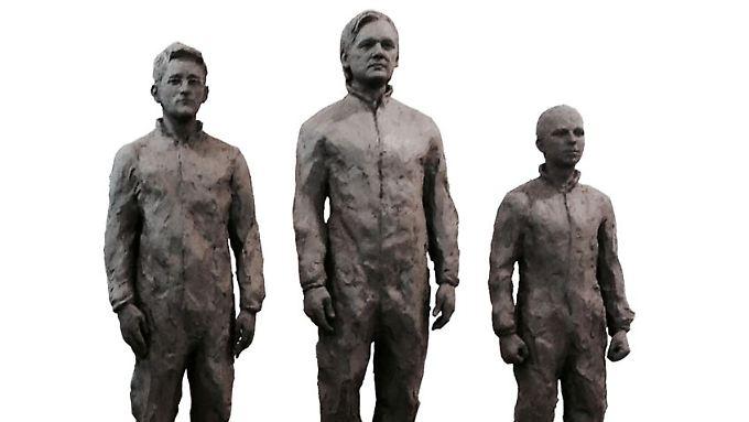 So könnte das Denkmal für Snowden, Assange und Manning aussehen.