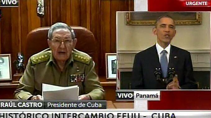 Gemeinsame Sache im Fernsehen: Kubas Präsident Raul Castro spricht zeitglich mit US-Präsident Barack Obama zum Volk.