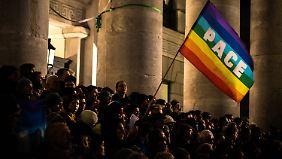 """Bei der Anti-""""Pegida""""-Demo in München."""