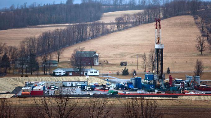 Im US-Bundesstaat Pennsylvania arbeiten Öfförderplattformen ebenfalls mit der Fracking-Methode.
