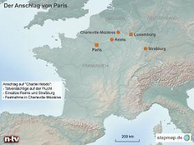 Charleville-Mézières liegt kurz vor der Grenze nach Belgien: Ob sich die beiden Hauptverdächtigen noch in Frankreich aufhalten, ist unklar.