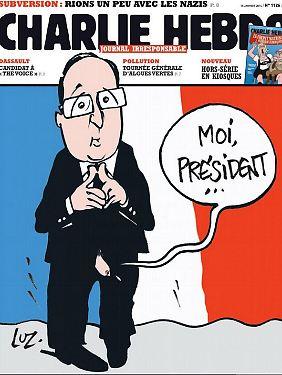 """Im Januar 2014 zeigte die Titelseite von """"Charlie Hebdo"""" eine Karikatur des französischen Präsidenten Hollande."""