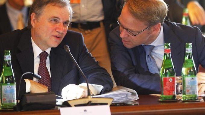Uneinig über die weitere EZB-Strategie: Ignazio Visco (l.) und Jens Weidmann.