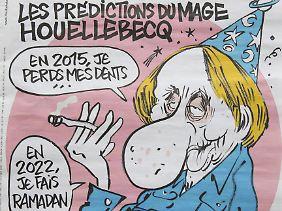 """Michel Houellebecq auf dem Cover von """"Charlie Hebdo"""" - erschienen am Tag des Anschlags."""