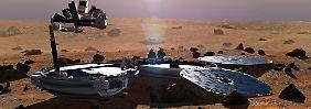 Computergrafik von Beagle 2 auf dem Mars.