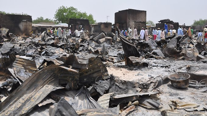 Die verwüstete Innenstadt von Baga nach dem Angriff der Boko Haram.