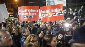 Auch ein paar Anhänger der deutschen Linken kamen zur Schwesterpartei nach Athen.