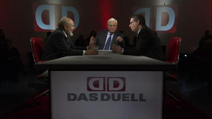 """Hans-Werner Sinn und Thorsten Schäfer-Gümbel im """"Duell"""" bei Heiner Bremer."""