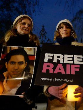 Proteste gegen die Inhaftierung von Raif Badawi im Januar 2015 in London.