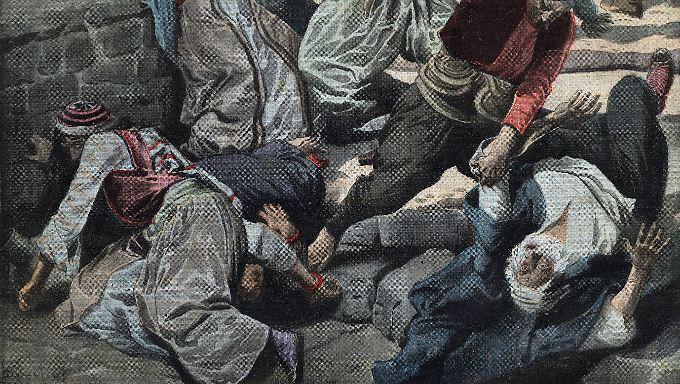 Eine französische Zeitschrift illustriert die brutale Vertreibung der Armenier im Jahr 1915.