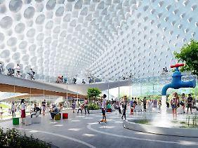 Kinderwagen, Skateboard, Kunstbrunnen: Im Inneren der Google-Zentrale der Zukunft (Grafik).