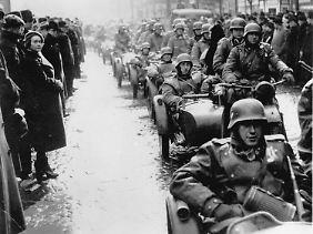 15. März 1939: Deutsche Soldaten dringen in Prag ein.