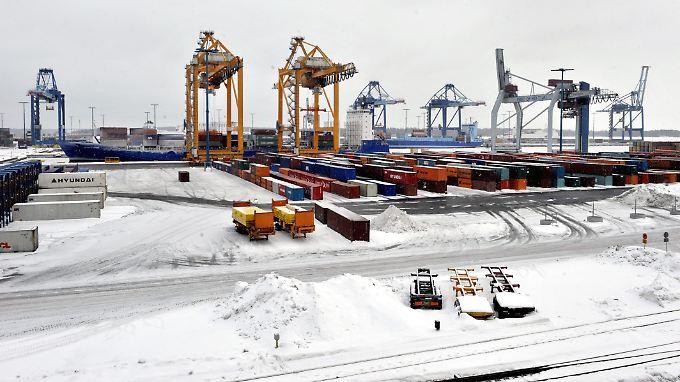 Hier war schon mal mehr los: Der Containerhafen von Helsinki (Archivbild).