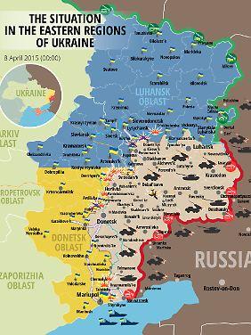 Die Konfliktlinie in der Ostukraine