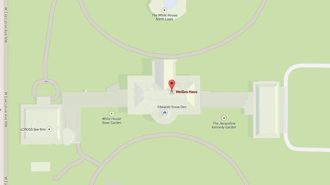 """Google Maps zeigt den Shop """"Edwards Snow Den"""" mitten im Weißen Haus."""