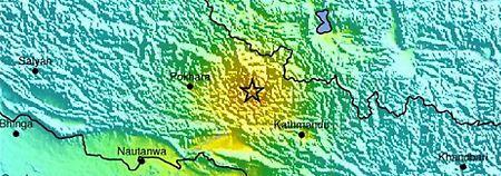 Die Karte der US-Erdbebenwarte zeigt das Epizentrum des Bebens.