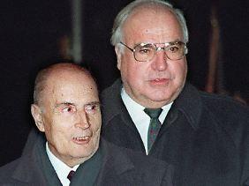 Deutsch-französisches Tandem: der Sozialist Mitterrand und der Christdemokrat Kohl.