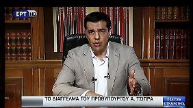 Tsipras während seiner Fernsehansprache.