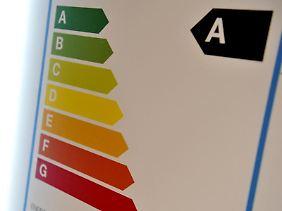 Das Energieeffizienzlabel der EU trägt eine farbige Skala, die verdeutlichen soll, wie gut das Gerät mit Strom umgeht. Die Klasse A (grün), teils sogar bis A+++, steht für besonders effiziente Geräte, F und G (rot) für Energieschleudern.