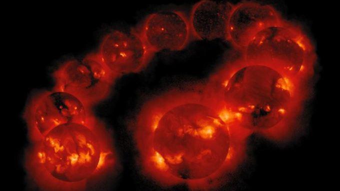 Die Montage zeigt die Sonnenaktivität zwischen August 1991 und September 2001.
