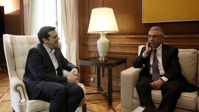 Zu viele Vorschusslorbeeren? Alexis Tsipras (l) im Gespräch mit Paul Krugman