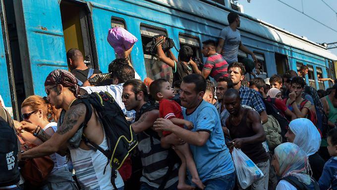 Wenn ein Zug kommt, dann drängen sich die Flüchtlinge bis unters Dach hinein.