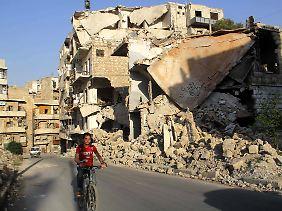 Schwer zerstört: die Großstadt Aleppo.