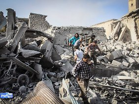 Schwere Zerstörungen in Ariha in der Provinz Idlib.