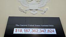 Die US-Schuldenuhr tickt: Hier der Stand am 18. Juli 2015.