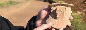 Auch dieser Rest eines Tongefäßes gehört zu den Fundstücken in Bannewitz.