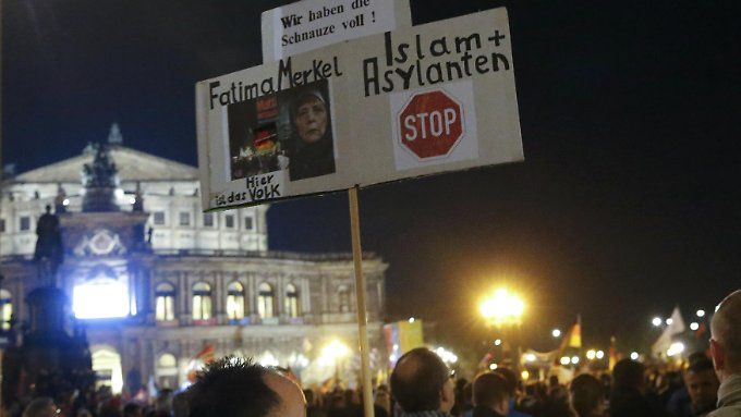 Pegida-Demonstranten im Oktober in Dresden.