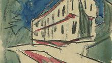 """1919 malte Max Pechstein ein """"weißes Haus"""". 2013 wurde es mit anderen Aquarellen des Künstlers als Nazi-Raubkunst anerkannt."""