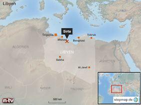 IS-Hochburg südlich von Europa: Von Sirte bis nach Sizilien sind es Luftlinie nur gut 600 Kilometer.