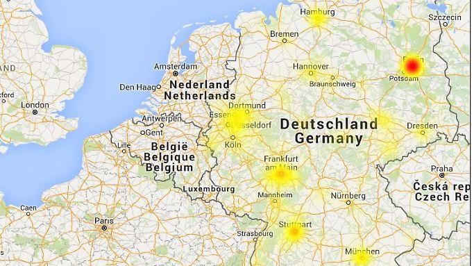 """Die Live-Karte von """"Allestörungen.de"""" zeigt, wo die meisten Störungen der Telekom-Netze auftreten."""