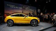 Am Hudson River feiert eine weitere Mercedes-Neuheit ihre Premiere, das GLC Coupé (im Bild die Studie).