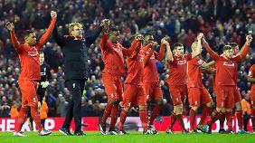 Klopps Liverpooler feierten den Punktgewinn gegen West Brom wie einen Sieg.