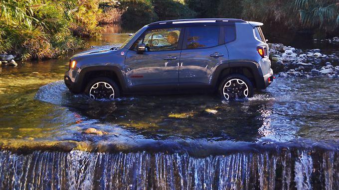 Selbst mit dem kleinsten Offroader von Jeep, dem Renegade, ist der Gang ins Gelände kein Problem.