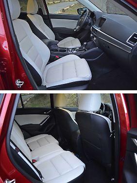 Die Weiß-Schwarz-Kombination sieht schick aus, hat aber mit 2000 Euro auch ihren Preis im Mazda CX-5.