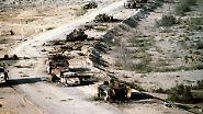 """Die Hauptverbindungsstraße zwischen Kuwait und dem Irak wird zum """"Highway of Death""""."""
