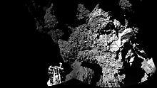 """Gelandet! Als """"Philae"""" hier seine Umgebung auf Tschuri knipste, hatte er auch eines seiner drei Beine im Blick."""