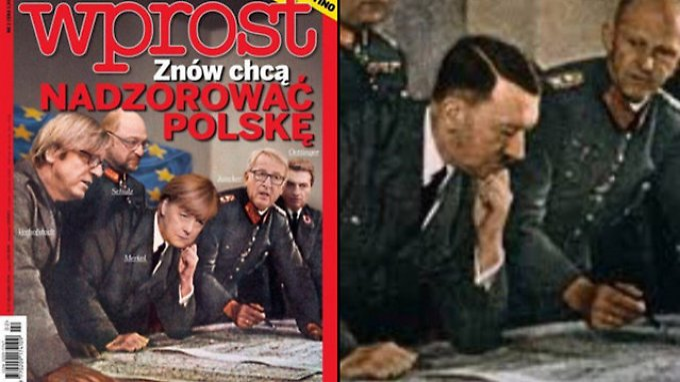 """Beispiel der antideutschen Stimmung in Polen: Das Titelblatt der Zeitschrift """"Wprost""""."""