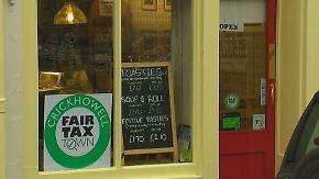 Kreativer Protest in Wales: Kleine Läden kämpfen gegen Steuermoral großer Konzerne