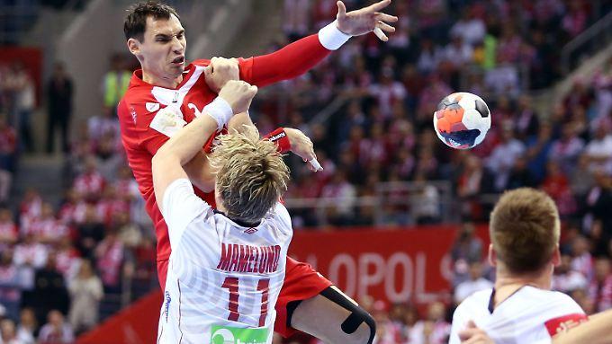 Die Polen um Krzysztof Lijewski kamen gegen Norwegen nicht gewohnt zum Zug.