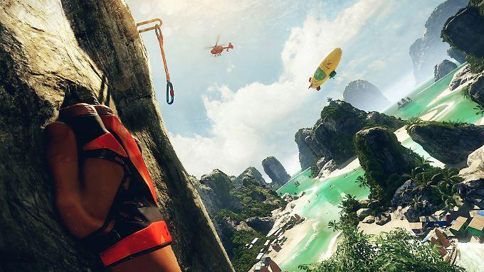 """Mit den Fingern am nackten Fels, der Karabiner außer Greifweite - Szene aus Cryteks VR-Spiel """"The Climb""""."""