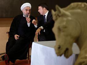 Im Gespräch mit Matteo Renzi (r.): Hassan Ruhani, Präsident der Islamischen Republik Iran.